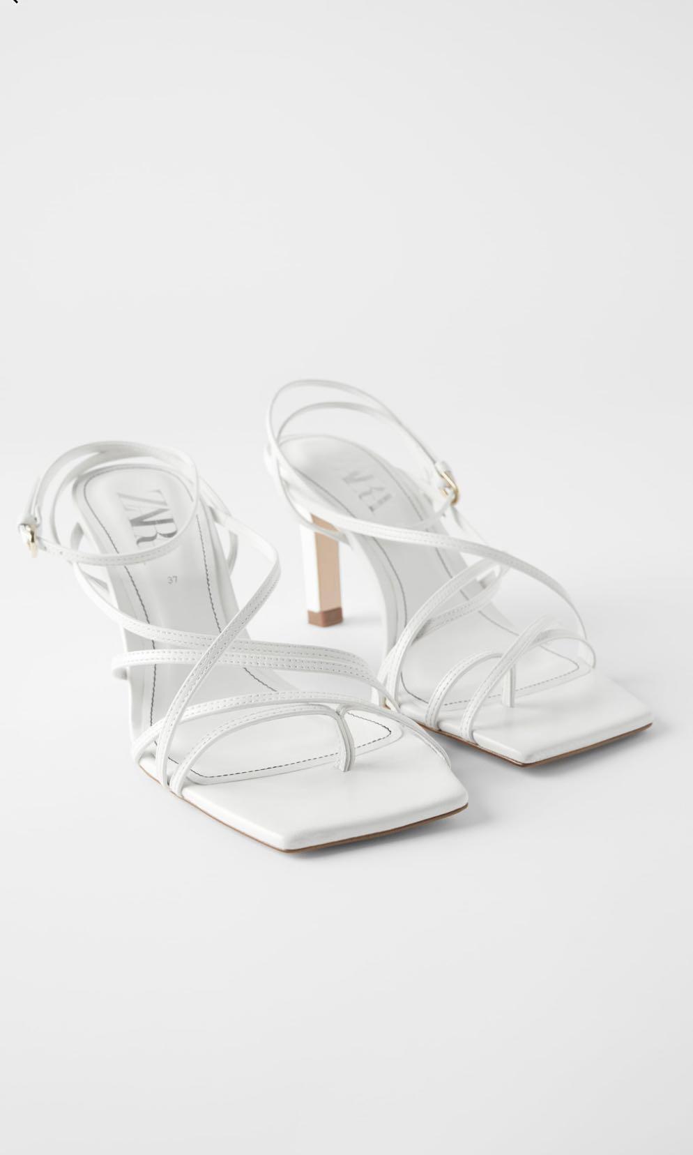 Zara white strappy open toed sandals