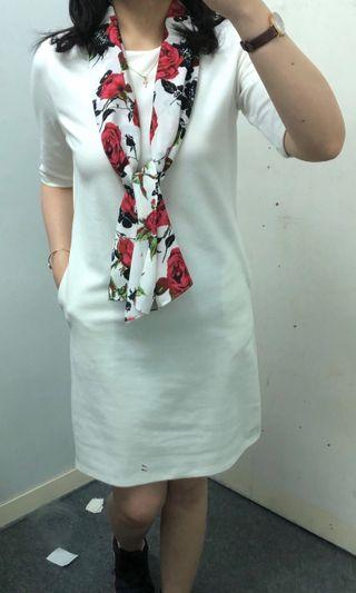 White Dress with Floral Scarf #1010flazz