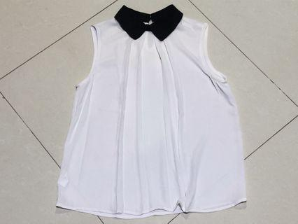 White Sleeveless Top with Black Collar #1010flazz
