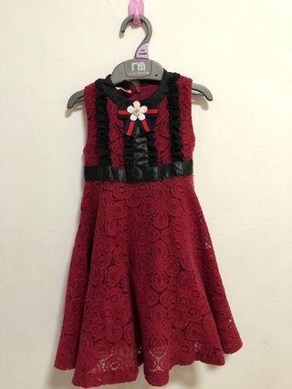 Dress Merah baby brukat