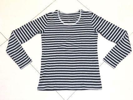 MUJI Long Sleeve Black Grey Stripes Top #1010flazz