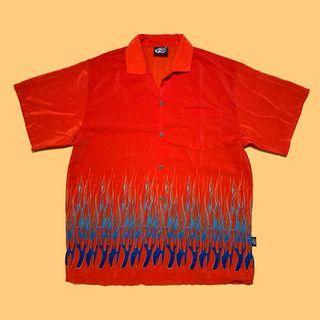 JCI:Vintage 古著 大尺碼 火焰印花紅色短袖襯衫 朋克風格 / Vetements風格 / Y2K