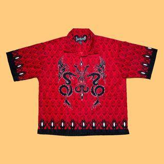 JCI:Vintage 古著 大尺碼 圖騰印花紅色短袖襯衫 朋克風格 / Vetements風格 / Y2K 0
