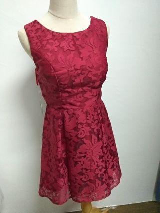 NEW mini dress dinner gown maroon lace premium