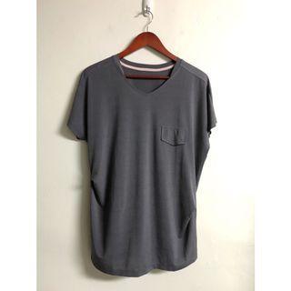韓製🇰🇷深灰長版T恤