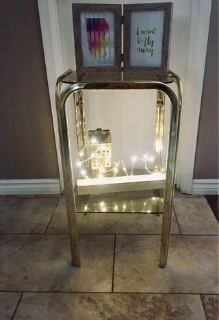Gold Painted Brass and Gold Corner Table