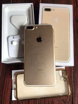 iphone 7 plus 128gb Gold Fullset ex inter malaysia normal