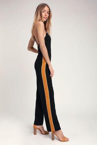 Tuxedo Stripe Jumpsuit - Size L - #SwapCA