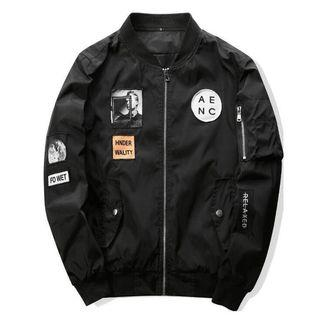 Men Bomber Jackets with Patches Streetwear