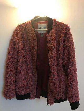 Canadian designer floral texture bomber jacket