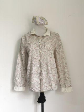 Floral cotton white blouse top