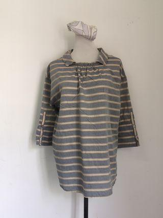 Stripes long sleeves plus size top