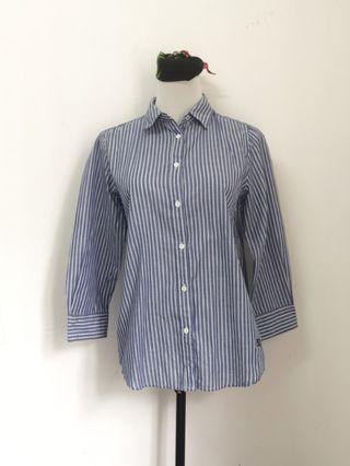 Blue stripes long sleeves ladies top