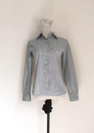 Blue small stripes blouse top