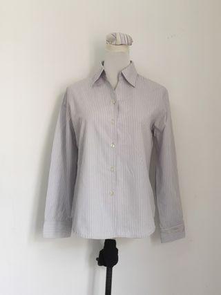 Purple stripes long sleeves ladies blouse top