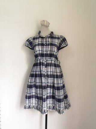 Blue checkered vintage Dress