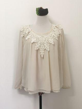 Cream blouse top