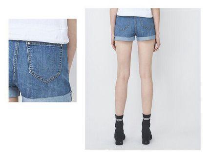 net 高腰反摺鬚邊牛仔短褲 藍色 高腰 短褲