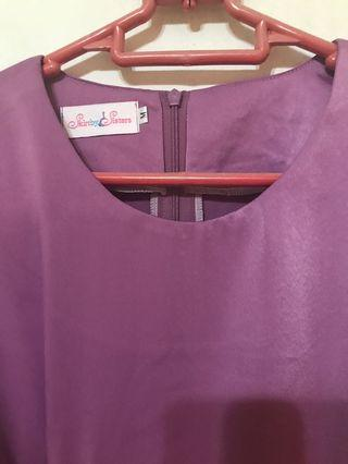 Skirt by sisters purple top with side tie in