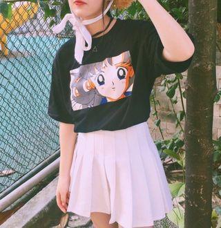 現貨韓國ulzzang原宿BF風美少女戰士卡通印花寬松短袖t恤