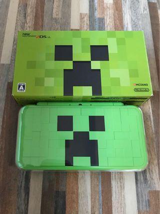 Nintendo 2ds LL Minecraft Creeper Edition with 128 gb memory card