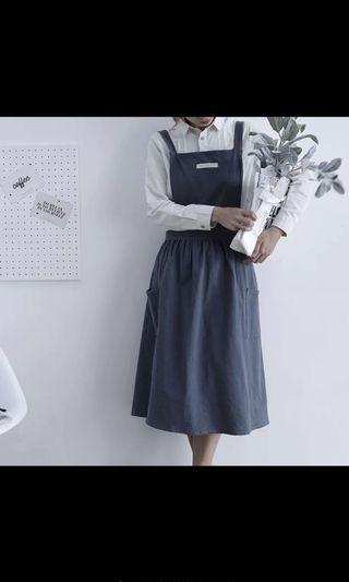 灰色 韓式交叉綁帶圍裙 畫畫圍裙 工作服 成人圍裙