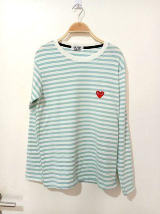 #joinoktober CDG stripes shirt | baby blue shirt | stripes shirt | stripes blouse | white top