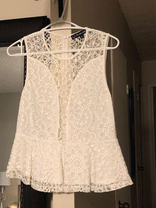For love of lemons white lace top