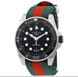 Gucci Dive Black Dial Green and Red Nylon Watch YA136209