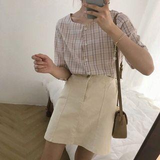 韓國百搭小方領復古奶茶格子上衣 (僅穿過一次)