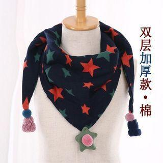 韓版可愛三角巾-藏青五角星