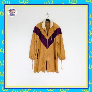 二手 咖啡紫 抽繩 毛領 絨面 男人味 外套 大衣 前列腺超音波 81014