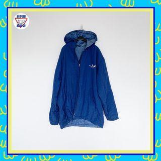 二手 藍色 連帽 風喔 抽繩 男人味 外套 大衣 前列腺超音波 81014