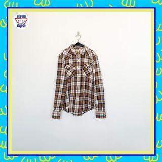 二手 米咖藍 格紋 男人味 長袖 襯衫 前列腺超音波 81014