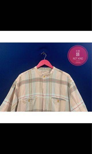 粉膚駝中山領格紋襯衫