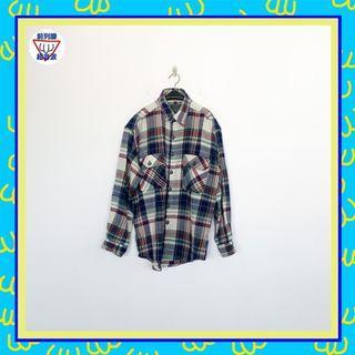 二手 藍綠白 格紋 毛料 男人味 長袖 襯衫 前列腺超音波 81014