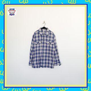 二手 藍白 印花 格紋 男人味 長袖 襯衫 前列腺超音波 1014