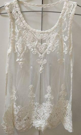 Korean White Lace Top
