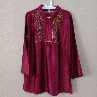 #1010flazz Maroon Silk Blouse