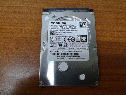 "2.5"" Toshiba 500GB SATA HDD for Laptop"