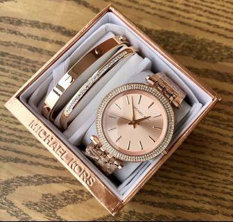 Auth MK Watches Set Rose Gold/Silver