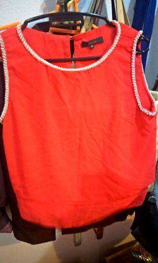 Nichii Orange blouse top with Pearls
