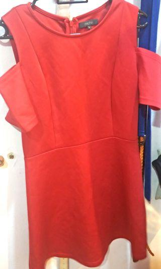 Nichii cold shoulder Red dress
