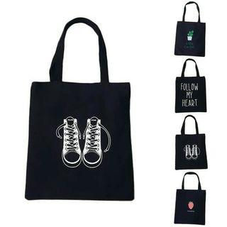 Creative Eco Printed Black Women Tote Bag