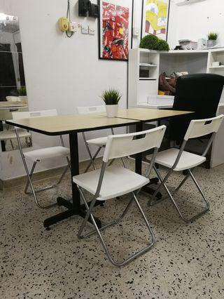 Simple dining table + 4 fold chair (space saving)