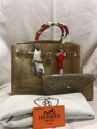 Hermes Birkin 30 Jelly Gold Glitters . free Twilly