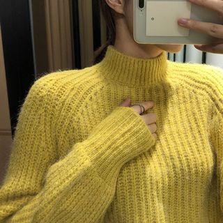 OshareGirl 10歐美女士針織毛衣燈籠袖半高領收口