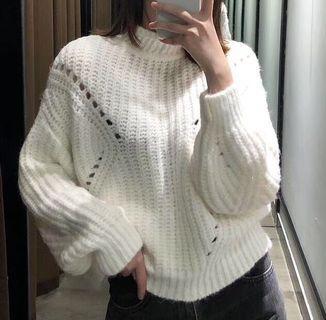 OshareGirl 10 歐美女士針織毛衣半高領菱形排列