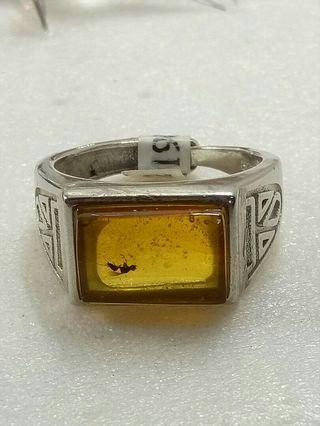 琥珀昆蟲純銀戒指