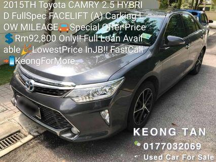 2015TH Toyota CAMRY 2.5 HYBRID FullSpec FACELIFT (A) Carking LOW MILEAGE🚘Special Offer Price💲Rm92,800 Only‼ Full Loan Available🎉LowestPrice InJB‼FastCall📲KeongForMore🤗